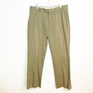 Theory Flat Front Trousers Khaki Casual Pants 36